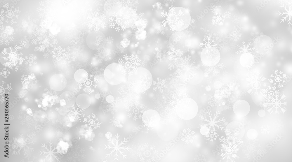 Fototapety, obrazy: white and gray blur abstract background. bokeh christmas blurred beautiful shiny Christmas lights. Snow background.