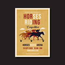 Horses Riding Competition Flyer Template Vector