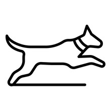 Jumping Dog Icon. Outline Jump...