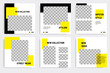 Minimal layout square banner in yellow color theme. Editable geometric banner template for social media post, stories, story, flyer.