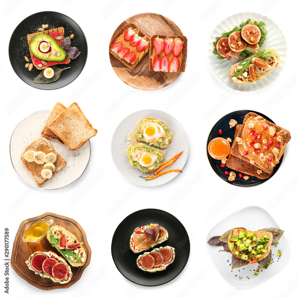 Fototapety, obrazy: Different tasty sandwiches with toasted bread on white background