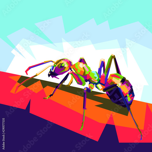 Photo ant pop art illustration