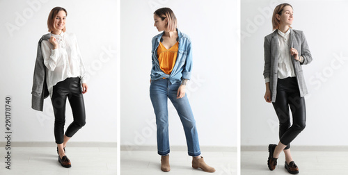 Photo Collection of fashion photos with young model in stylish clothes