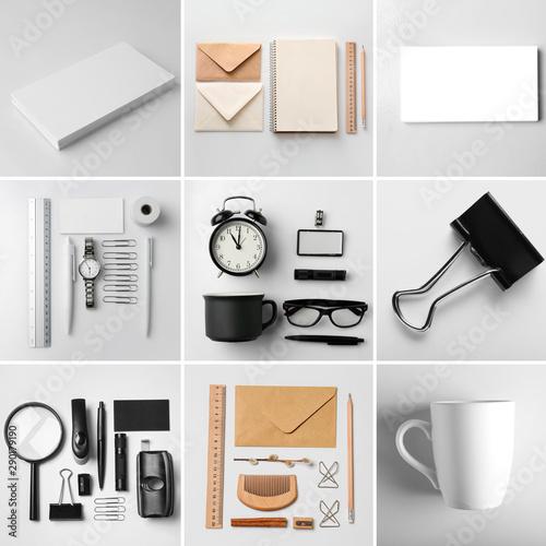 Fotografía  Set of items for branding on light background