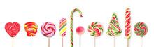 Different Tasty Lollipops On W...