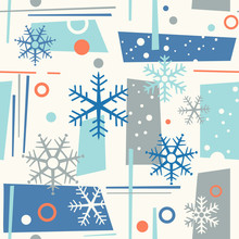 Seamless Mid Century Modern Winter Pattern With Snowflakes And Geometric Shapes. Cheerful Retro Design For Fabric, Wallpaper, Backgrounds And Decor.Print