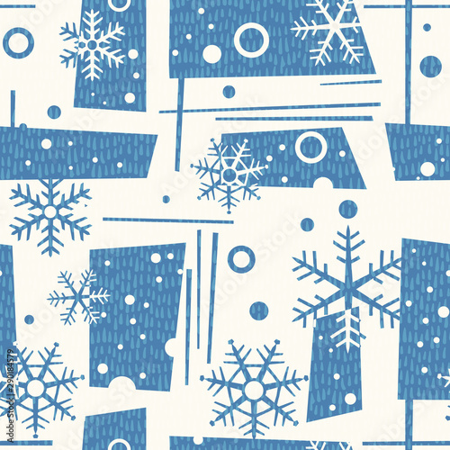 seamless mid century modern winter pattern with snowflakes and geometric shapes Wallpaper Mural