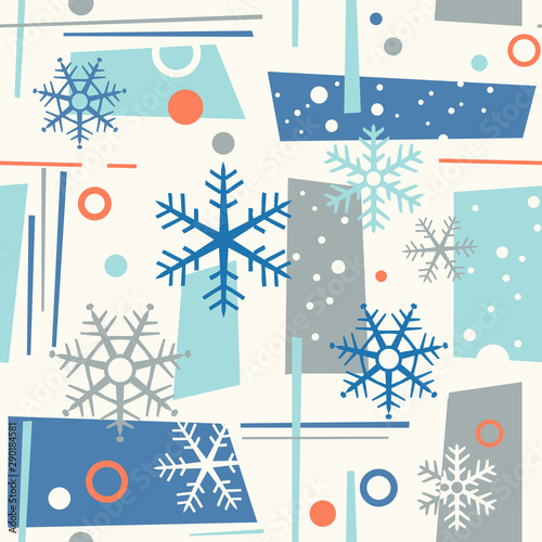 Photo seamless mid century modern winter pattern with snowflakes and geometric shapes