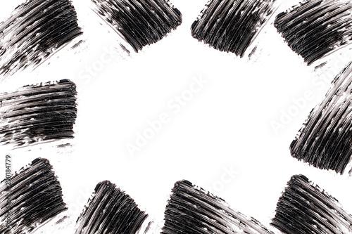 Mascara brush stroke around border with empty space Canvas Print