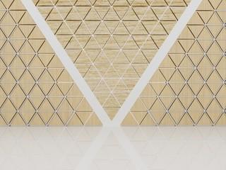 drewniane trójkąty uformowały ścianę z abstrakcyjnym wzorem.