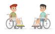 Set Boy sitting on a wheelchair.
