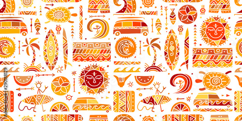 Surfing seamless pattern. Tribal elements for your design Fotobehang