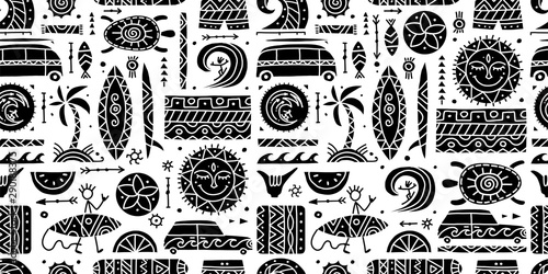 Valokuva Surfing seamless pattern. Tribal elements for your design