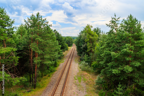 Papiers peints Voies ferrées Aerial view of railroad track through a green pine forest
