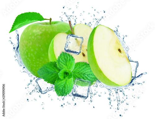 Fototapeta owoce w wodzie   jablko-i-lod-plusk-na-bialym-tle