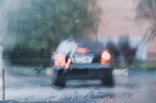 View through car windshield during the heavy rain Canvas Print