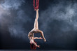 Female athletic, sexy and flexible aerial circus artist with redhead dancing in the air on the silk
