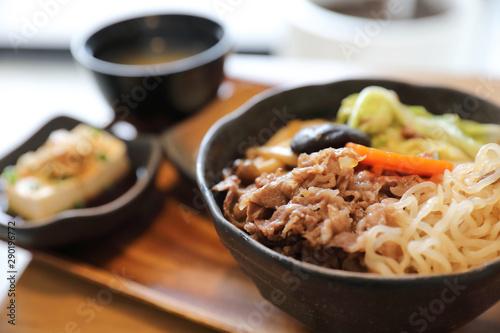 Sukiyaki donburi , sukiyaki hot pot stew with Japanese rice in bowl Japanese foo Wallpaper Mural