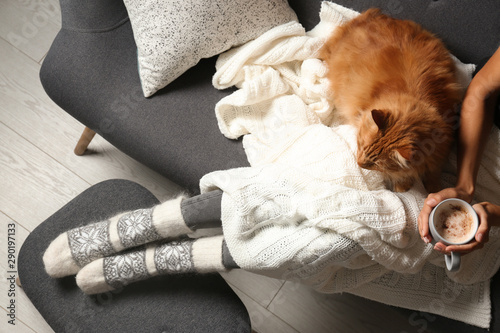 fototapeta na ścianę Woman with cute red cat and coffee on grey sofa at home, top view