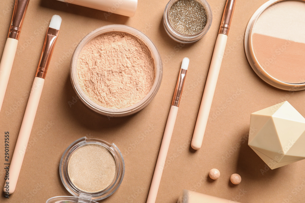 Fototapety, obrazy: Flat lay composition with makeup brushes on brown background