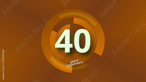 Photo  40 Years Anniversary Digital Tech Circle Gold Background