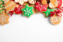 Tasty Homemade Christmas Cookies On White Background, Top View