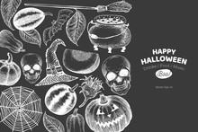 Halloween Banner Template. Vector Hand Drawn Illustrations On Chalk Board. Design With Pumpkins, Scull, Cauldron And Sunflower Retro Style. Autumn Background.