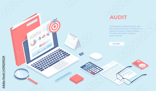 Fototapeta Auditing, analysis, accounting, calculation, analytics. Documents with charts graphs on the laptop screen, folder, magnifying glass, calculator, calendar, target. Isometric 3d vector background obraz