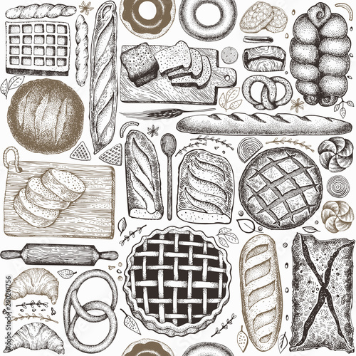 Photo Bread and pastry seamless pattern