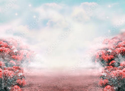 Fototapety Fantasy fantasy-summer-photo-background-with-roses-flowers-field-and-misty-path-leading-to-fairytale-glade-idyllic-tranquil-morning-scene-road-goes-across-hills-empty-copy-space-toned-in-pastel-colors