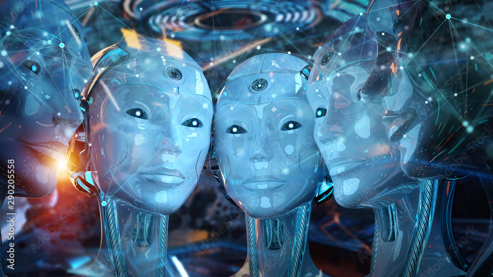 Fototapeta Group of female robots heads creating digital connection 3d rendering