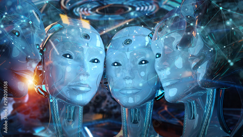 Group of female robots heads creating digital connection 3d rendering