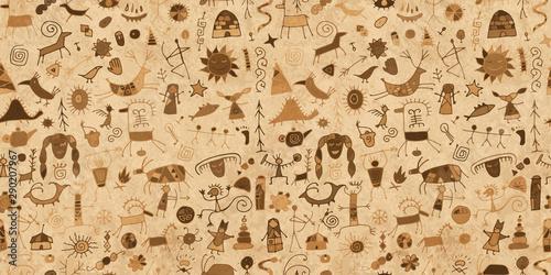 Obraz na plátně Rock paintings background, seamless pattern for your design