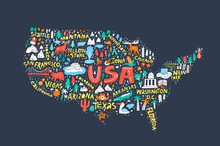 USA Map On Dark Blue Backgroun...