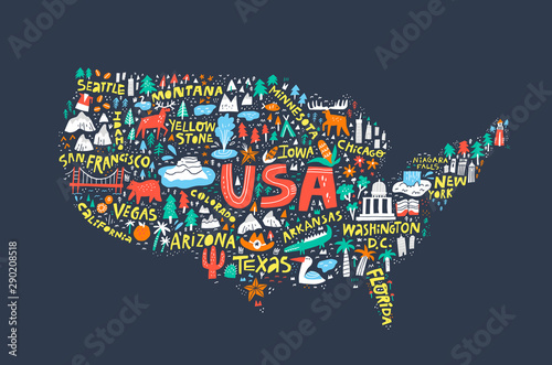 USA map on dark blue background flat illustration Canvas Print