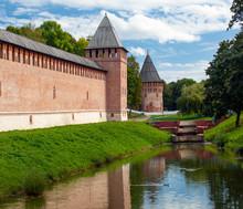 Ancient Old Castle Wall Of Kremlin In Smolensk, Russian Federation