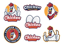 Fried Chicken Restaurant Logo Template. Set Chicken Label For Business Template Illustration. Chicken Mascot Logo Vector, Illustration Of Chicken. Banner Illustration