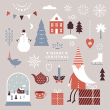 Set Of Christmas Graphic Elements, Santa, Snow Globe, Snowman, And Others Design Elements