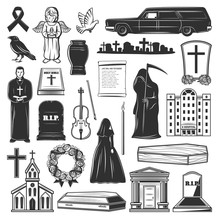 Funeral Symbols, Cemetery And Death Grief Icons