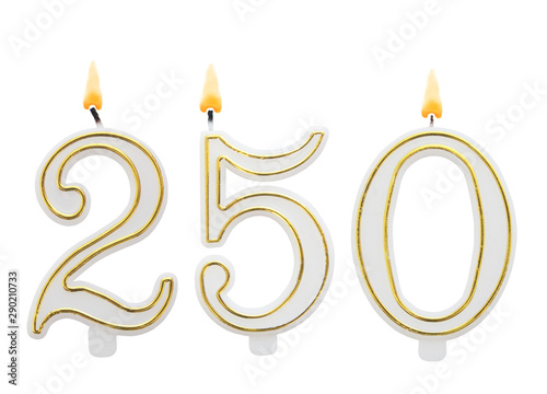 Papel de parede  Burning birthday candles on white background, number 250