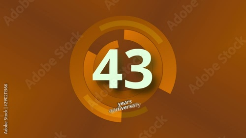 43 Years Anniversary Digital Tech Circle Gold Background Canvas Print