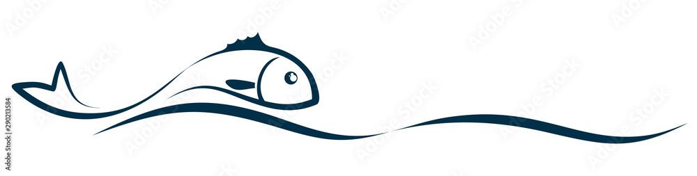 Fototapeta Symbol of a stylized sea fish with wave.