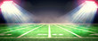 Leinwanddruck Bild - Perspective of football field. Football stadium with white lines marking the pitch. Perspective elements.Ragby football field with white lines marking the pitch. 3d illustration.