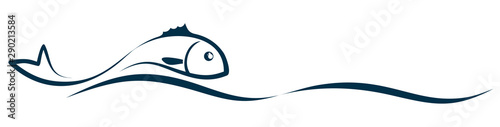 Fotografie, Tablou Symbol of a stylized sea fish with wave.
