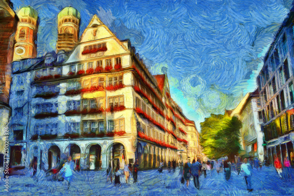 Medieval buildings illuminated by sunlight in Munich, Germany. Van Gogh style imitation oil painting