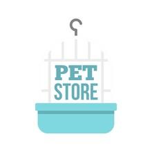Bird Cage Pet Store Logo. Flat...
