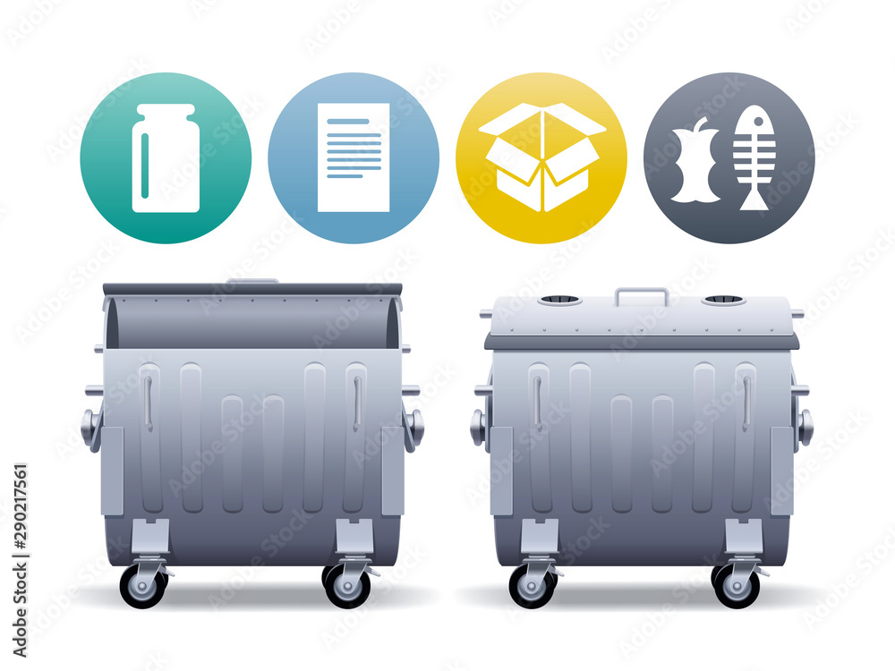 Fototapety, obrazy: Two large metal street containers in open and closed forms for separate collection of garbage with waste types icons.