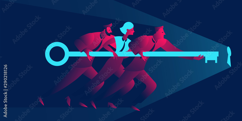 Fototapety, obrazy: Team work business concept in red and blue neon gradients. Businessmen and businesswoman holding giant key to the keyhole