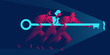 Team work business concept in red and blue neon gradients. Businessmen and businesswoman holding giant key to the keyhole