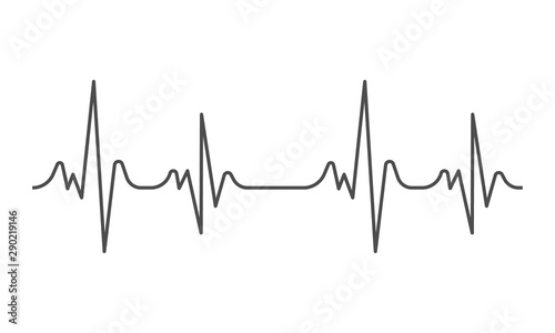 Cuadros en Lienzo  Heartbeat heart beat pulse flat vector icon for medical apps and websites